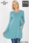 Front of Dusty Teal Long Sleeve Plus Size Swing Tunic with Pockets