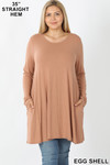 Front of Eggshell Long Sleeve Plus Size Swing Tunic with Pockets
