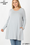 Front of Lt Grey Long Sleeve Plus Size Swing Tunic with Pockets