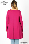 Rear view of Magenta Long Sleeve Plus Size Swing Tunic with Pockets