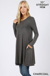 Left side of Charcoal Long Sleeve Swing Tunic with Pockets