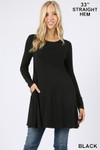 Front of Black Long Sleeve Swing Tunic with Pockets