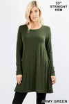 Front of Army Green Long Sleeve Swing Tunic with Pockets