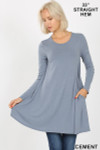 Front of Cement Long Sleeve Swing Tunic with Pockets