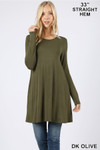 Front of Dk Olive Long Sleeve Swing Tunic with Pockets