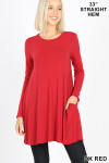 Front of Dk Red Long Sleeve Swing Tunic with Pockets
