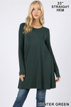 Front of Hunter Green Long Sleeve Swing Tunic with Pockets