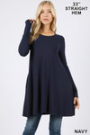 Front of Navy Long Sleeve Swing Tunic with Pockets