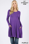 Front of Purple Long Sleeve Swing Tunic with Pockets