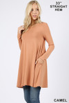 45 degree image view of Camel Long Sleeve Swing Tunic with Pockets