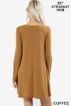 Back view of Coffee Long Sleeve Swing Tunic with Pockets