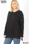 Front image of Black Brushed Thermal Waffle Knit Round Neck Hi-Low Sweater