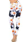 Left Side Image of Creamy Soft Daisy Extra Plus Size Leggings - 3X-5X - USA Fashion™