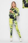 Yellow Tie Dye 2 Piece Leggings and Hooded Jacket Set