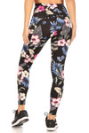 Back side of High Waisted Graceful Floral Sports Leggings with Side Pockets