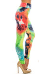 Right side of Buttery Soft Summer Yellow Tie Dye High Waisted Leggings - Plus Size