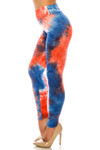 Left side of Buttery Soft Red and Blue Tie Dye High Waisted Leggings