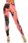 Rear view of Buttery Soft Coral Tie Dye High Waisted Leggings - Plus Size showing off the flattering body-hugging fit.