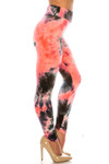 Right side of Buttery Soft Coral Tie Dye High Waisted Leggings - Plus Size