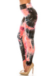 Left side of Buttery Soft Coral Tie Dye High Waisted Leggings - Plus Size
