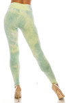 Back view of Buttery Soft Mint Tie Dye High Waisted Leggings with a flattering fitted silhouette.