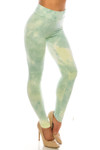 45 degree Right side view of Buttery Soft Mint Tie Dye High Waisted Leggings - Plus Size with a figure flattering high waist.