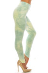 Right side of Buttery Soft Mint Tie Dye High Waisted Leggings - Plus Size