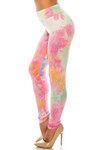 Left side of Buttery Soft Multi-Color Pastel Tie Dye High Waisted Leggings