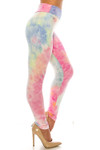 Right side of Buttery Soft Multi-Color Pastel Tie Dye High Waisted Leggings