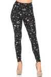 Front of Creamy Soft Muddy Paw Print Leggings - USA Fashion™ with a full length hem and a mid rise waist.