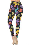 Back view of figure flattering fitted Creamy Soft Colorful Paw Print Leggings - USA Fashion™