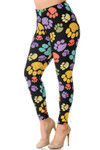 45 degree image of Creamy Soft Colorful Paw Print Plus Size Leggings - USA Fashion™ with a vibrant print on a black fabric base.