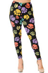 Front of Creamy Soft Colorful Paw Print Plus Size Leggings - USA Fashion™ with a mud rise comfort elastic waist.