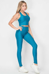 Right side view of Teal 2 Piece Scrunch Butt Leggings and Crop Top Set