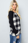 White Buffalo Plaid Contrast Solid Long Sleeve Plus Size Top