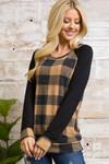 Mocha Buffalo Plaid Contrast Solid Long Sleeve Plus Size Top