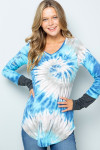 Aqua Tie Dye Contrast Cuff Long Sleeve V Neck Top