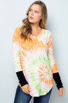 Orange Tie Dye Contrast Cuff Long Sleeve V Neck Top