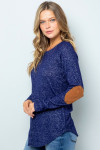 Blue Waffle Knit Elbow Contrast V Neck Long Sleeve Plus Size Top