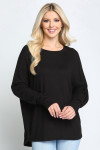 Black Solid Long Sleeve Dolman Plus Size Top