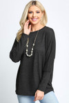 Charcoal Solid Long Sleeve Dolman Plus Size Top
