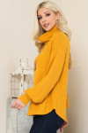 Mustard Waffle Knit Cowl Neck Long Sleeve Plus Size Top
