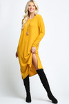 Mustard Long Sleeve Side Slit Midi Length Plus Size Sweater Dress