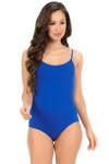 Blue Basic Solid Spaghetti Strap Cotton Bodysuit