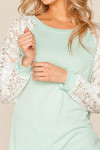 Mnt Lace Balloon Sleeve Pastel Contrast Top