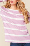 Long Sleeve Lilac and White Striped Round Neck Plus Size Top