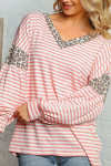 Blush Pink Striped Leopard Print Accent Long Sleeve V-Neck Plus Size Top