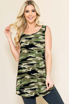 Green Camouflage Loose Fit Tank Top