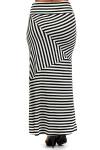 Asymmetrical Rayon Thin Stripe Maxi Skirt