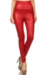Matte High Waisted Red Faux Leather Leggings